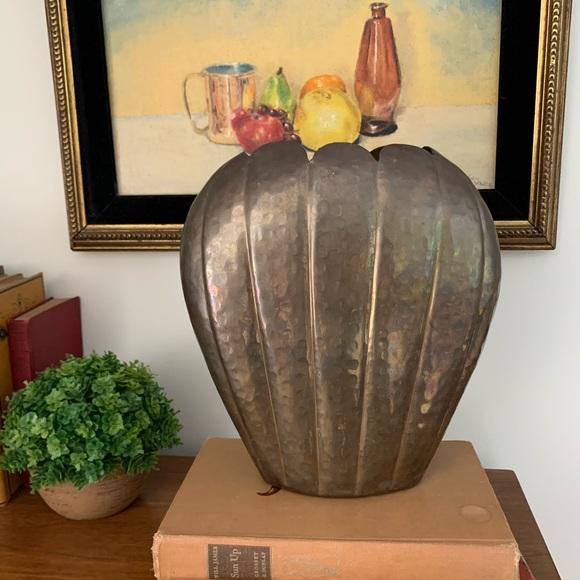 Vintage Large Art Deco Style Hammered Brass Vase
